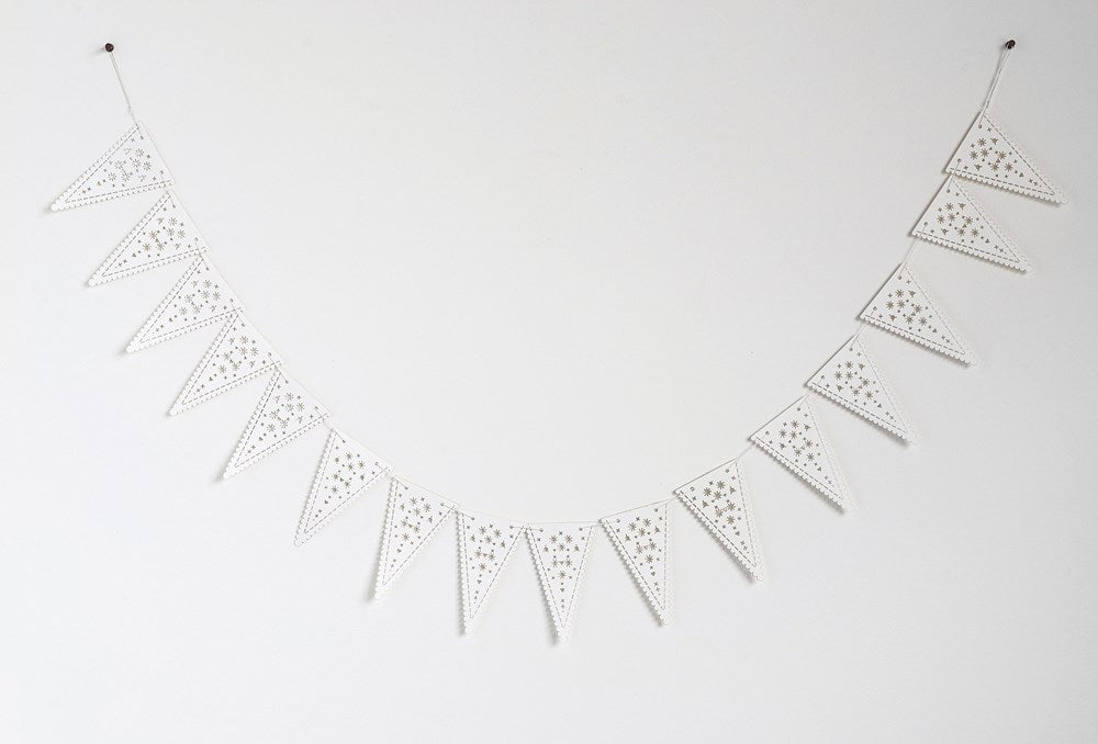 "72""L Paper Pennant Garland w/ Cut-outs, White"