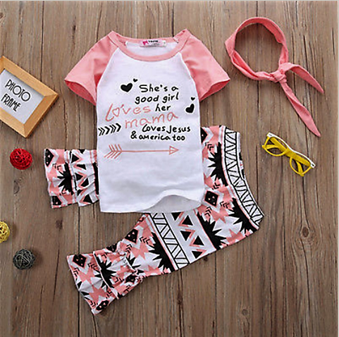 """She's a good girl..."" Short-Sleeved Top with Ruffled Pants and Matching Headband Set"