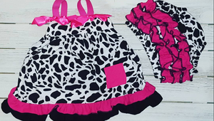 Cow Print Toddler Swing Top & Bloomers