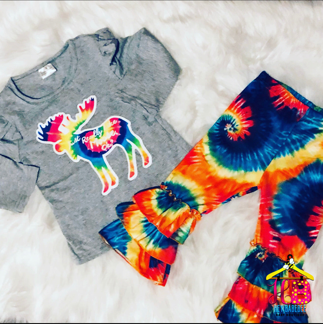 """Just Really Like Moose, Ok?"" Ruffle Tie-Dye Bell Set"