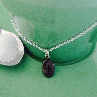 Blackened silver coffee bean pendant