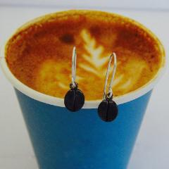 Blackened sterling silver coffee bean drop earrings