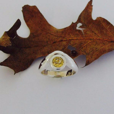 Sterling silver ring set with citrine