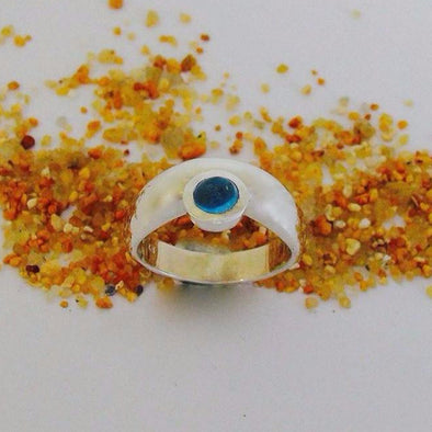 5mm round cabochon cut topaz in a sterling silver bezel setting.