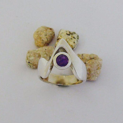 Sterling silver and amethyst set ring