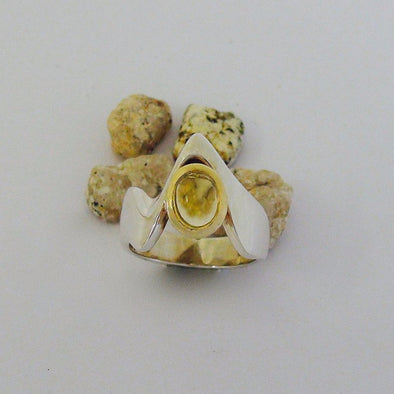 Sterling silver citrine set ring