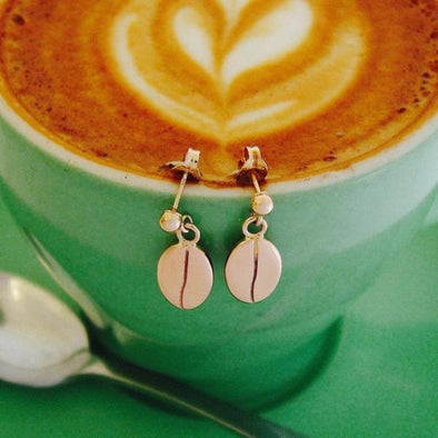 Rose gold coffee bean stud earrings