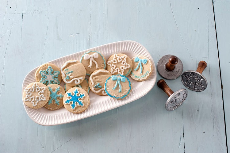 Nordic Ware Heirloom Cast Aluminum Holiday Cookie Stamps, Set of 3
