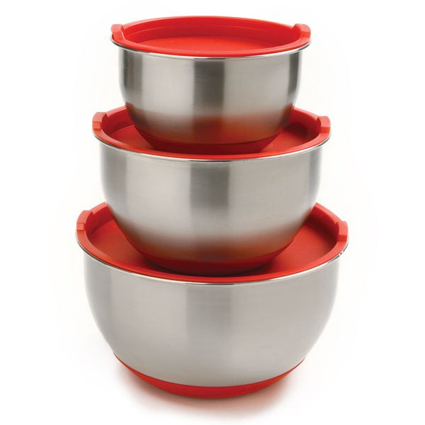 Norpro Stainless Steel Bowls - Set of 3 with Lids