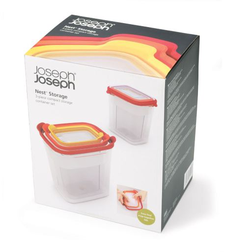 Joseph Joseph 3‑Piece Nest Storage Container Set with Lids