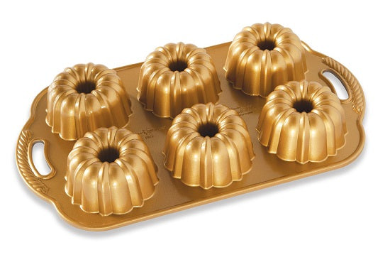 Nordic Ware Premier Gold Collection Bundtlette Anniversary Mini Pan