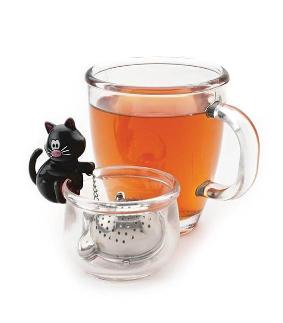 Joie Meow Tea Cup Bowl And Funny Tea Strainer Tongs N Things