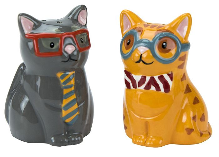 Boston Warehouse Smarty Cat Salt & Pepper Shakers