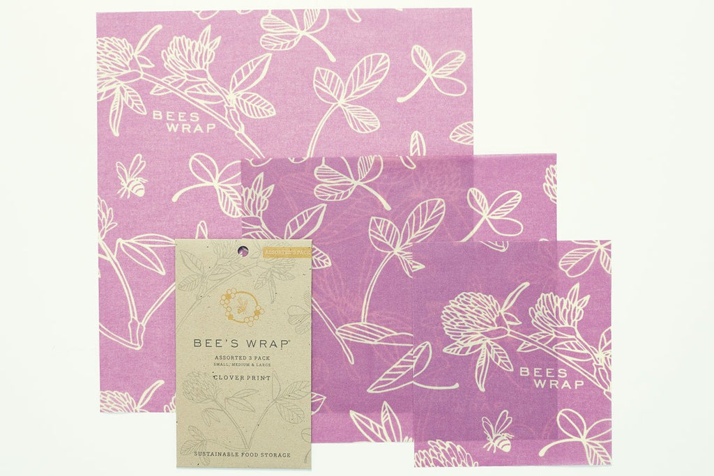 Bee's Wrap Mimi's Purple Clover Print - Assorted Set of 3 Wraps, S, M, L