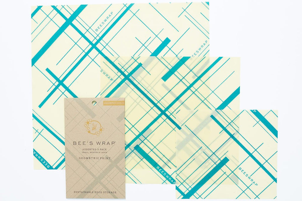 Bee's Wrap Geometric Print in Everybody's Teal - Set of 3 Assorted Sizes - S, M, L