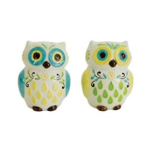 Boston Warehouse Floral Owls Salt & Pepper Shakers