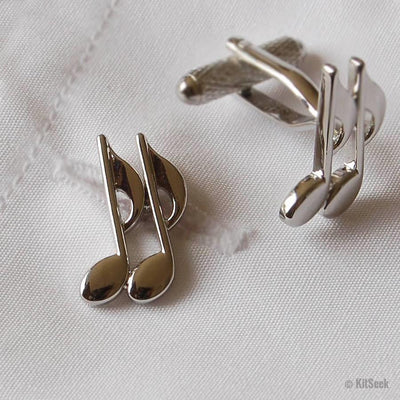 Silver Musical Note Cufflinks - KitSeek