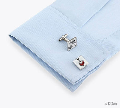I Love My Wife Men's Silver Cufflinks - KitSeek