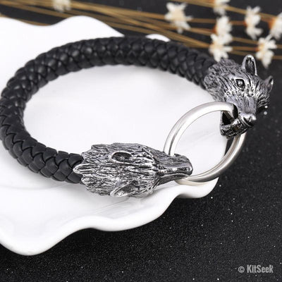 Braided Genuine Leather Wolf Head Charm Bracelet - KitSeek
