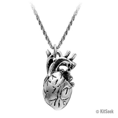 Gold, Silver & Bronze Women's Anatomically Correct Human Heart Necklaces - KitSeek