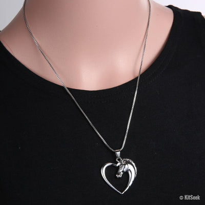 Silver Horse in Heart Pendant Necklace for Women - KitSeek