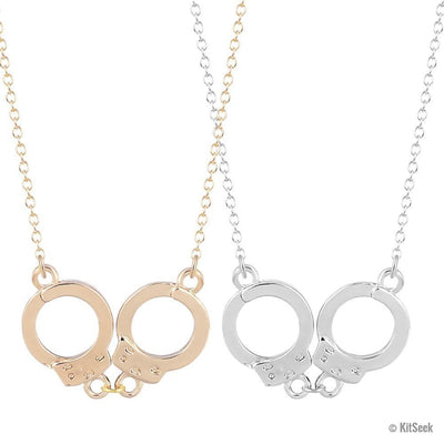 Steampunk Inspired Handcuff Pendant Necklace in Gold or Silver For Women - KitSeek