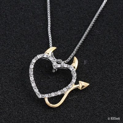 Devil Heart Pendant Necklace - KitSeek