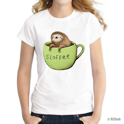 Sloth and coffee tee shirt