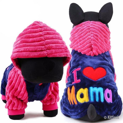 I Love Papa/Mama Puppy and Dog Winter Coats - KitSeek