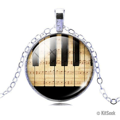 Piano and Music Note Pendant Necklace for Women - KitSeek