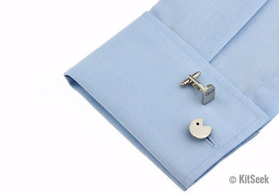 Pacman Design Silver Cufflinks - KitSeek
