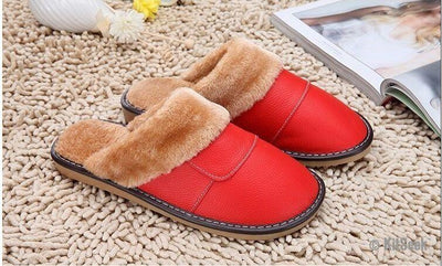 Genuine Leather Plush Slippers - KitSeek