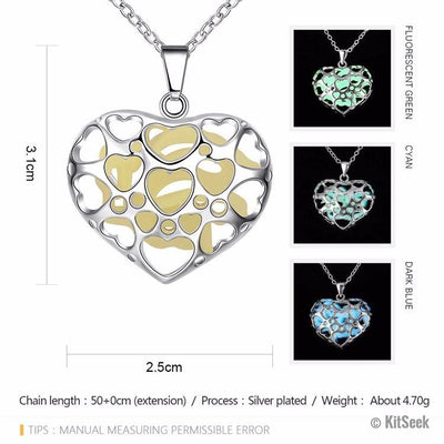 Glow In The Dark Heart Crystal Necklace - KitSeek