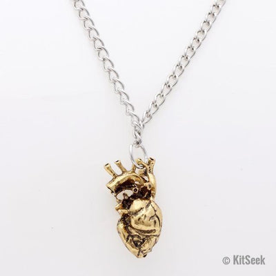 Gold Detailed Anatomically Correct Heart Necklace