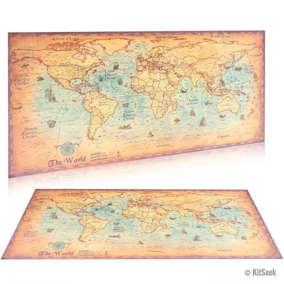 Kraft Paper Classic Style World Map Poster - KitSeek