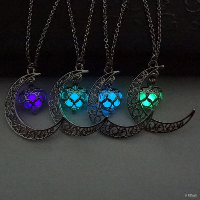 Glowing Crescent Moon Necklaces - KitSeek