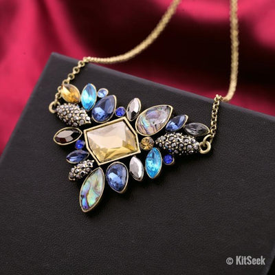Rhinestone Multi-Crystal Necklace - KitSeek
