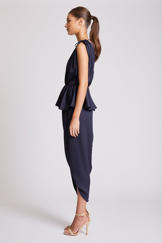 CALYPSO RUCHED PEPLUM MAXI DRESS - NAVY