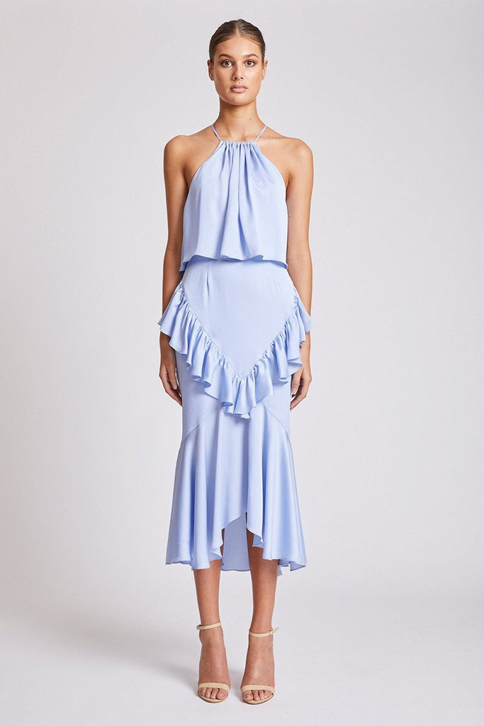 CALYPSO CROSS FRILL MIDI DRESS - CORNFLOWER