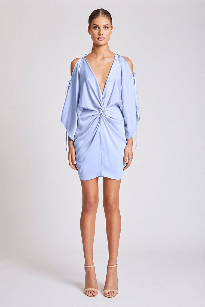 CALYPSO TWIST KIMONO MINI DRESS - CORNFLOWER