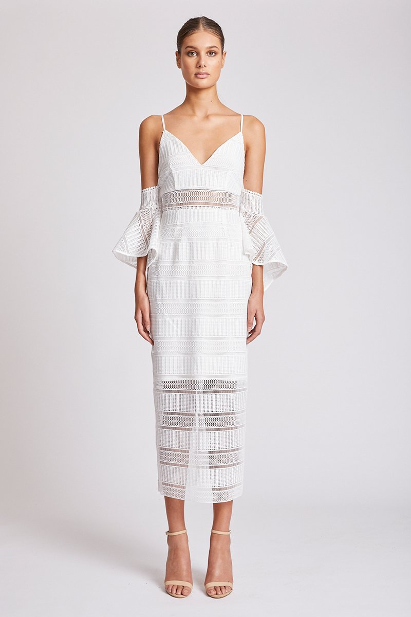 ARUBA FLARED SLEEVE COCKTAIL MIDI DRESS - IVORY