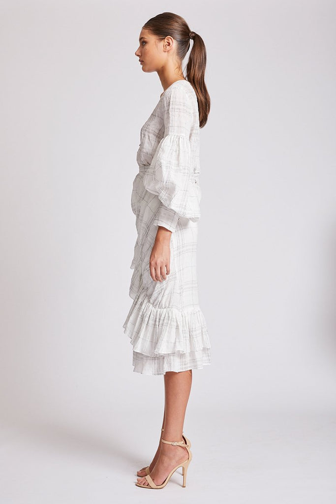 PLANTATION RUFFLE MIDI SKIRT