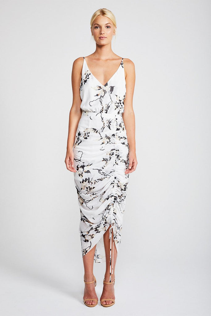 APPARITION RUCHED COCKTAIL MIDI DRESS