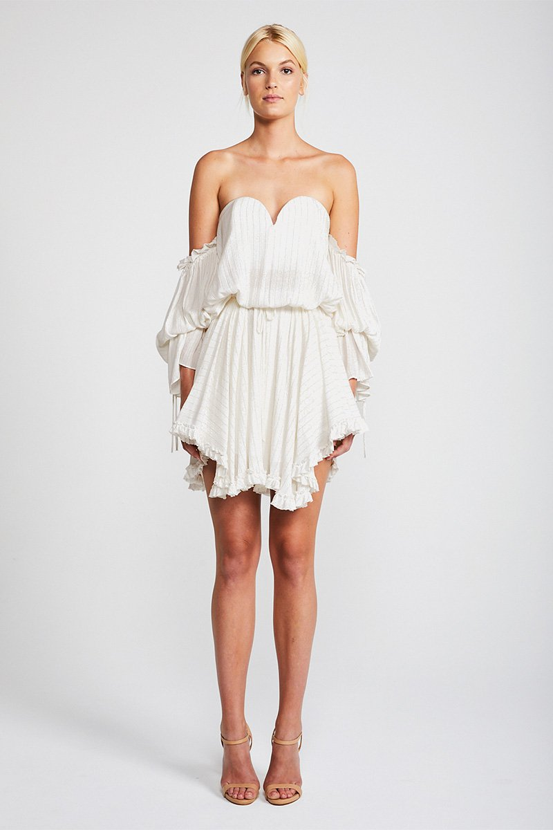 DAZED BUSTIER MINI DRESS - IVORY/GOLD LUREX