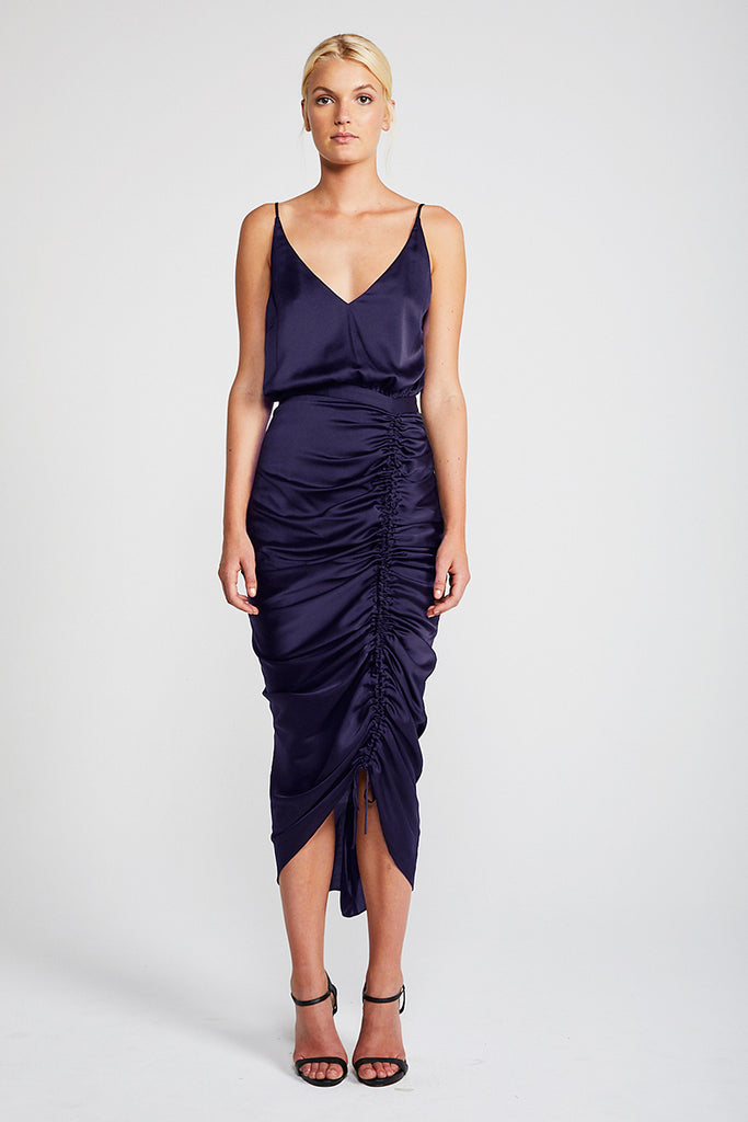 CALYPSO RUCHED COCKTAIL MIDI DRESS - NAVY
