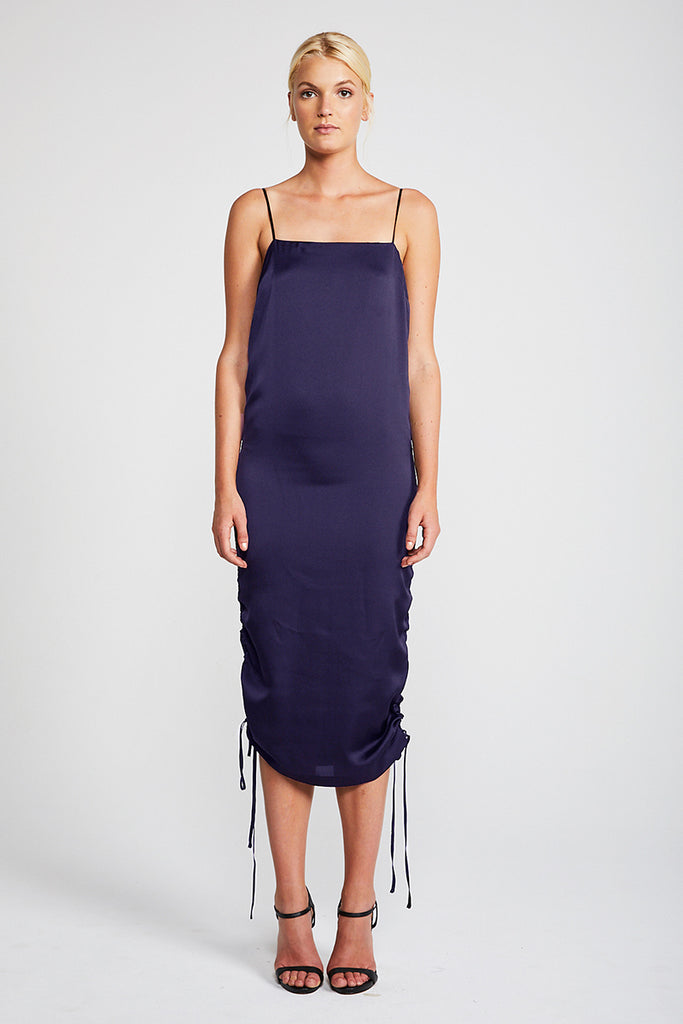 CALYPSO RUCHED SLIP DRESS - NAVY