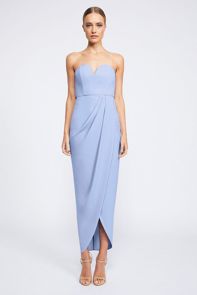 CORE 'U' BUSTIER DRAPED DRESS - CORNFLOWER
