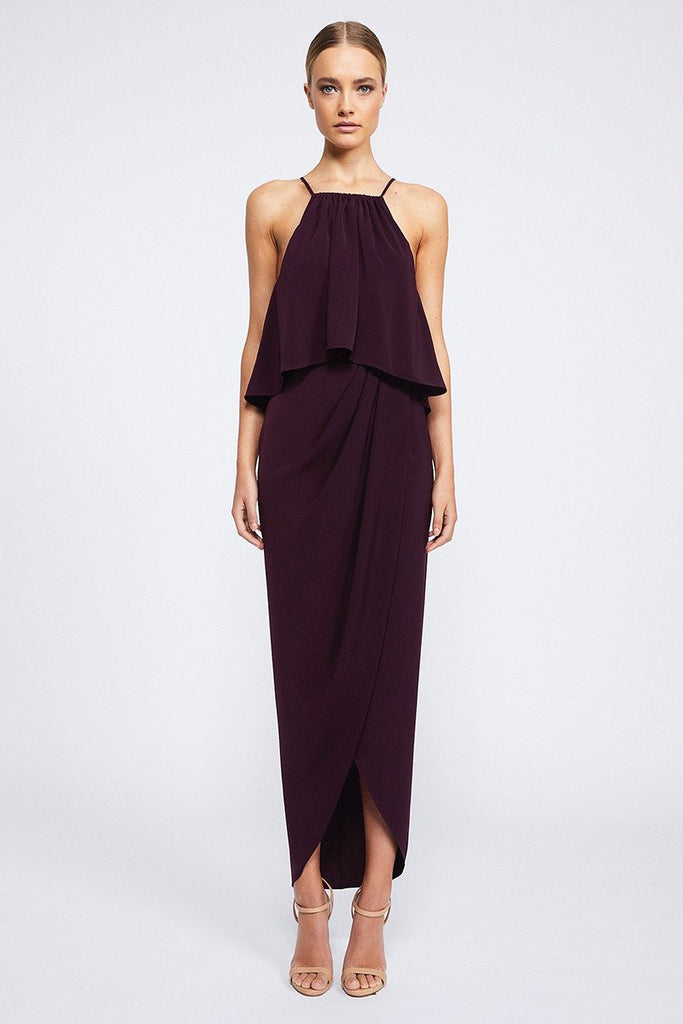 CORE HIGH NECK FRILL DRESS - AUBERGINE