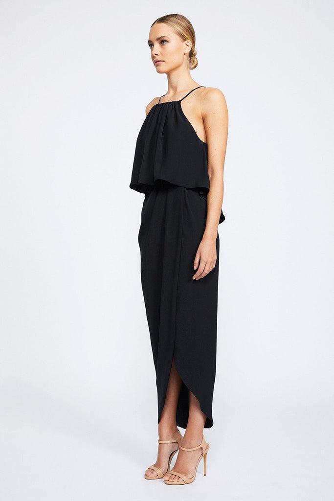 CORE HIGH NECK FRILL DRESS - BLACK