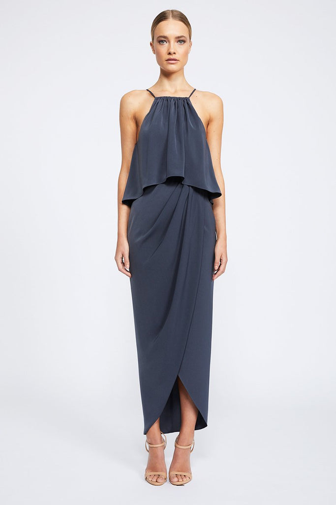CORE HIGH NECK FRILL DRESS - CHARCOAL